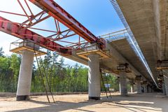 Overpass construction. Road construction by incremental launching method in Moscow. Russia Royalty Free Stock Images