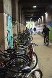 Overpass filled with bicycles at Hakata Station, Fukuoka Kyushu royalty free stock image