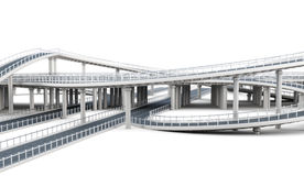 Overpass highways isolated on white background. 3d rendering.  Royalty Free Stock Photos