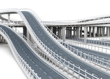 Overpass highways  on white background. 3d rendering Royalty Free Stock Photography
