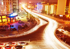 Overpass and light trails. Traffic on junction in city royalty free stock images