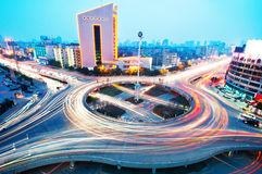 Overpass of the light trails. Beautiful curves royalty free stock images