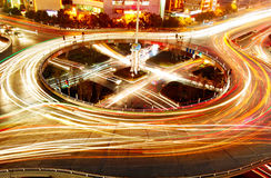 Overpass of the light trails. Beautiful curves Stock Images