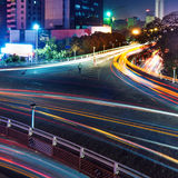 Overpass of the light trails Royalty Free Stock Photo