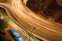 Overpass of the light trails Royalty Free Stock Images