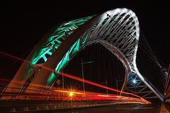 Overpass lit up at night. The Ponte Ostiense in Rome, photographed at night with its beautiful lighting