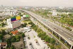 Overpass and a lot of cars in Bangkok Stock Photos