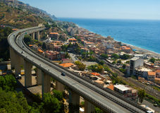 Overpass Near Sea.Sicily Royalty Free Stock Images