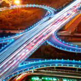 Overpass Night. Overpass at night, heavy traffic Royalty Free Stock Image