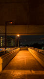 Overpass in night it dark because glimmer bulbs. Overpass in night it dark Stock Image