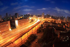Overpass at night in shanghai Royalty Free Stock Image