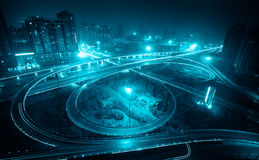 Overpass at night in xian Stock Image