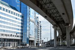 Overpass and office building. Overpass of the Third Ring Road in Moscow in front of business district Moscow-City, Russia Royalty Free Stock Images