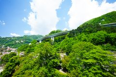 Overpass over a mountain Stock Images
