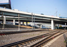 Overpass with railway tracks. Railway junctions under the overpass Royalty Free Stock Photos