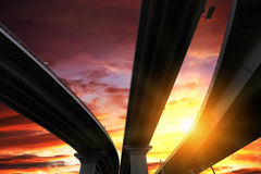 Overpass silhouette and sky Stock Photography