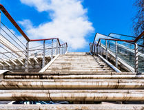 Overpass steps. Pedestrian overpass step blue sky background Stock Photography