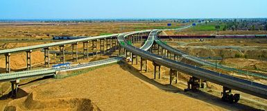 Overpass in Urumqi. Around by desert Royalty Free Stock Image