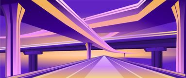 Overpass viaduct bridge. Vector horizontal image of an empty hearse city overpass viaduct bridge in orange purple colors royalty free illustration