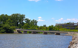 Overpass of Woodrow Wilson Bridge trail in summer. Royalty Free Stock Photography