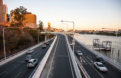 Overpasses with Cityscape of Brisbane city. Brisbane, Australia - July 17, 2010 : Overpasses with Cityscape of Brisbane city CBD in Australia on a clear day stock photos