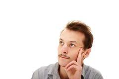 Overpeinzing - jonge mens het denken Stock Fotografie