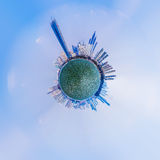 Overpopulated urban planet covered in city buildings Stock Image