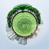 Overpopulated urban planet covered in city buildings Stock Photo