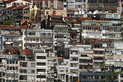 Overpopulation. Overpopulated cityscape symbolizing harsh housing situation Stock Photos