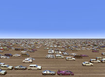 Overpopulation. Computer generated 3D illustration with masses of cars Royalty Free Stock Images