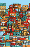 Overpopulation / Crowded city full of cars and houses. Royalty Free Stock Image