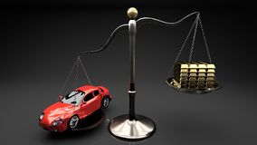 Red shiny small cars on a small scale against stack of gold bards. royalty free illustration
