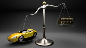 Yellow sports car on a scale against a stack of gold bars symbolizes expensive shopping, overpaying for goods, rip off, luxury. Overpriced goods lead to excesive Stock Photography