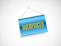 Overpriced hanging blue sign concept Stock Photography
