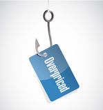 Overpriced hook tag sign concept Stock Photos