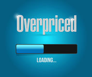 Overpriced loading bar sign concept. Illustration design over blue Royalty Free Stock Photography