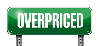 Overpriced road sign concept Stock Photography