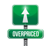 Overpriced street sign concept illustration Stock Photography
