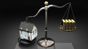Overpricing properties leads to risky mortgages and loans. House value overweigh family income and savings which leads to debt royalty free illustration