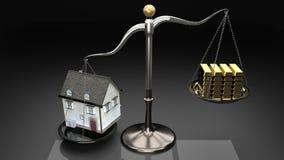 Overpricing propiedades lleva a las hipotecas y a los préstamos aventurados Contenga la renta y los ahorros de la familia del ove libre illustration
