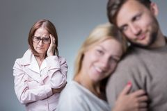 Overprotective envy mother Royalty Free Stock Image