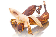 Overripe bananas on white Royalty Free Stock Photo