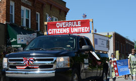 Overrule Citizens United marchers at the Ypsilanti, MI 4th of Ju Stock Photography