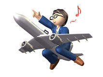Overseas business trip. Businessman across the jet, he is pointing the destination Royalty Free Stock Photography