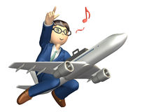 Overseas business trip. Businessman across the jet, he is pointing the destination Royalty Free Stock Photos
