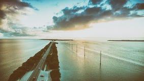 Overseas Highway bridge at sunset, aerial view Stock Image