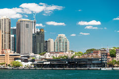 Overseas Passenger Terminal in Sydney. Sydney, Australia - November 09, 2015: Overseas Passenger Terminal view from a ferry towards the Circular Quay on a sunny Stock Photo