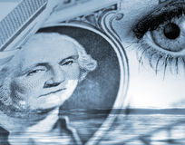 Overseeing US Dollar. Conceptual image of eye overseeing US Dollar performance royalty free stock images