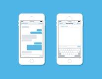 Overseinen en het babbelen op mobiel telefoon vectormalplaatje Royalty-vrije Stock Foto's