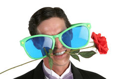 Oversize Glasses & Rose Stock Images